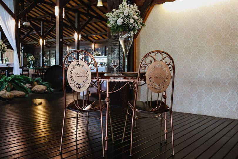 Exemplo para mesa dos noivos