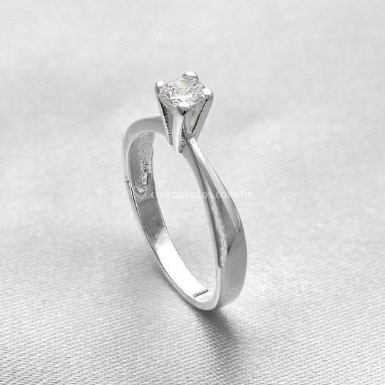 Anel de Prata Solitário 928601