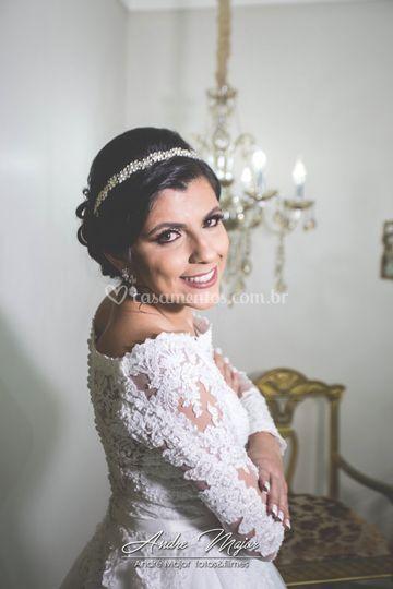 Momento da beleza da noiva