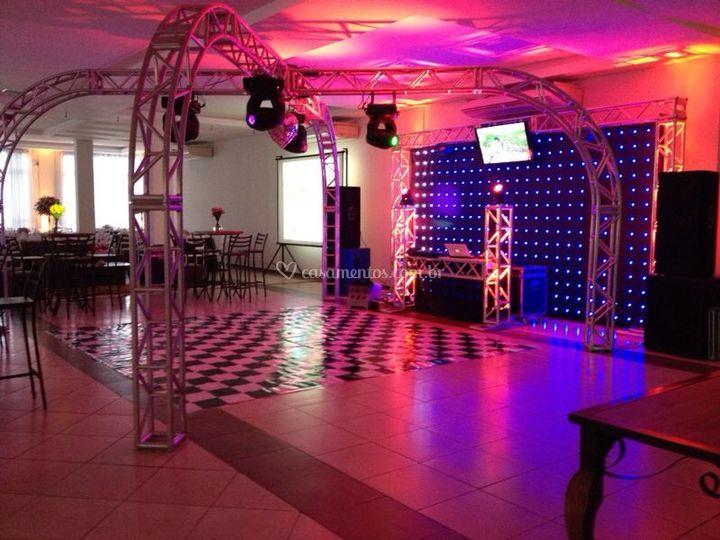 Pista de dança + Cortina LED