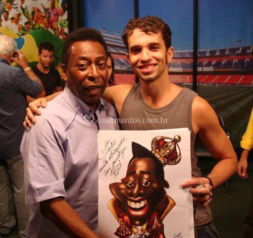 Pelé e sua caricatura