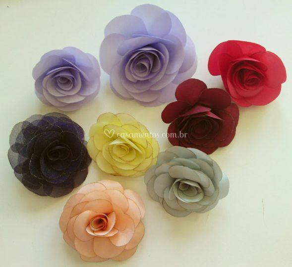 Flores mini tecido para lapela