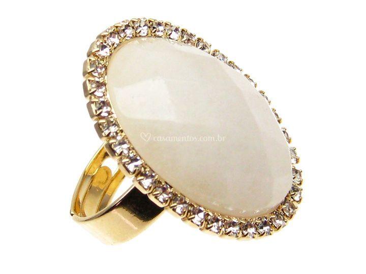 Anel de quartzo branco