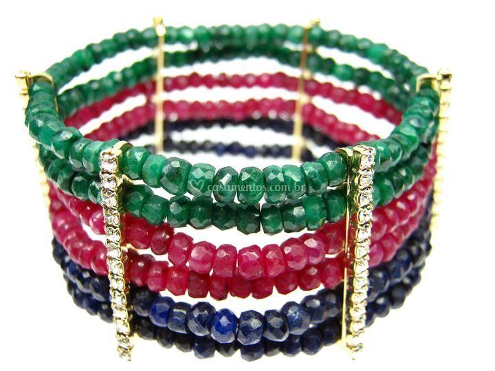 Bracelete rubi, esmeralda e safira