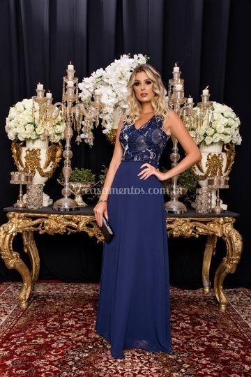 Vestido elegante azul marinho
