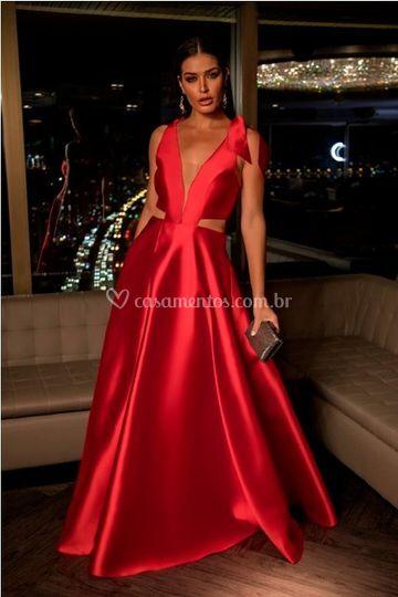 Vestido vermelho de zibeline