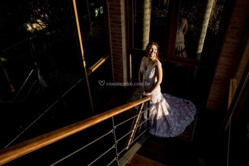 Vestido rosa da noiva