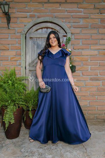 Vestido Plus Size azul marinho