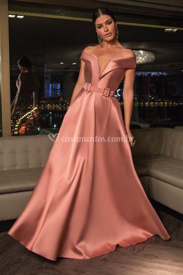 Vestido Rosado em zibeline