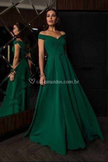 Vestido verde com cinto