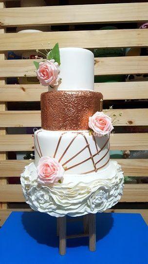 Bolo Casamento Rose Gold