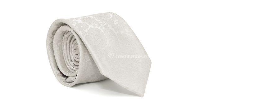 Gravata cerimonial com-desenho cashmere em poliester cinza textura large g1