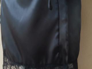Robe Normal com Renda Manga e Bainha Preto