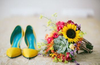 Sapatos amarelos no dia C: 60 modelos para todos os estilos de noiva