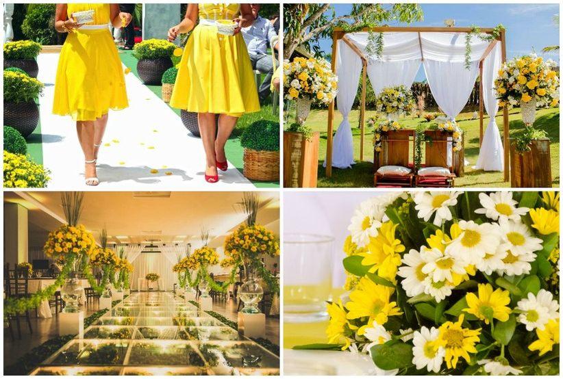 decoracao de casamento na igreja azul e amarelo:dúvidas sobre usar o amarelo como a cor predominante do casamento