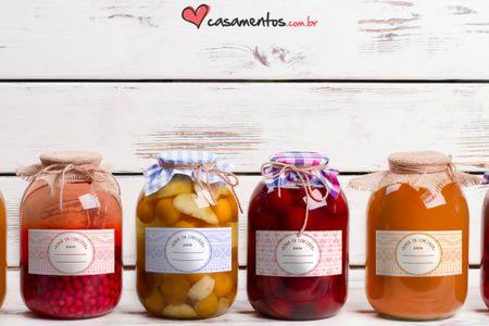 """""""Amor em conserva"""", etiquetas para potinhos de geleia em presentes DIY"""