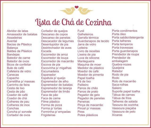 Muito Lista de chá de casa nova !!!! FM61