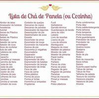 Lista de chá de panela.