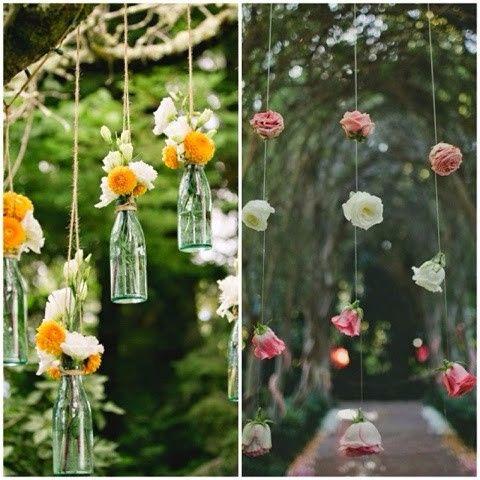 Cortina de garrafas e flores