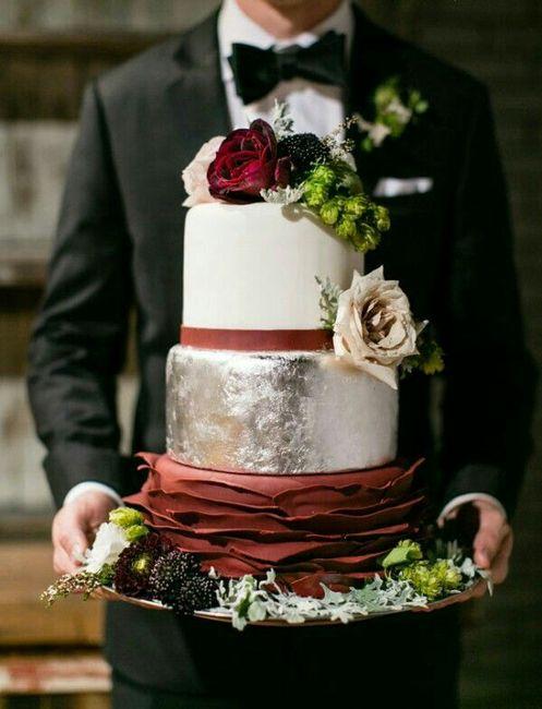 Bolo de casamento marsala ❤ - 4