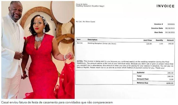 Recém-casados enviam fatura de R$ 1.250 para quem não compareceu à festa 1