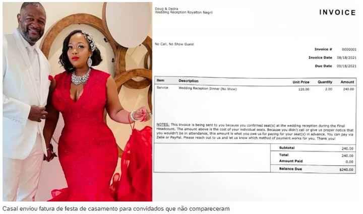 Recém-casados enviam fatura de R$ 1.250 para quem não compareceu à festa - 1