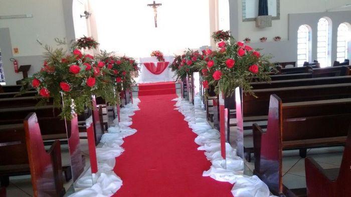 Decoraç u00e3o em vermelho branco (casamento real) -> Decoração De Casamento Vermelho E Branco Simples Na Igreja
