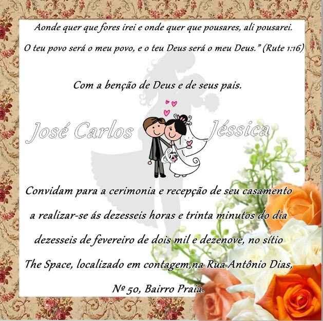Mensagem do meu convite de casamento!!