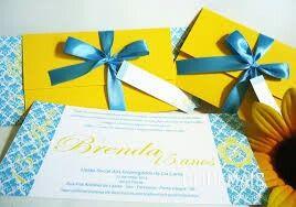 Convite azul e amarelo - 2