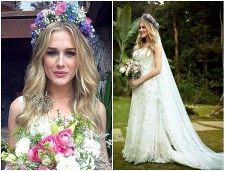 Noiva com coroa de flores e véu 1