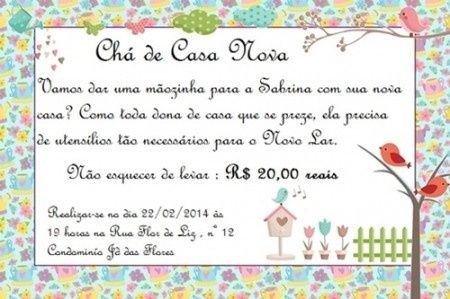 Meu Convite De Chá De Casa Nova