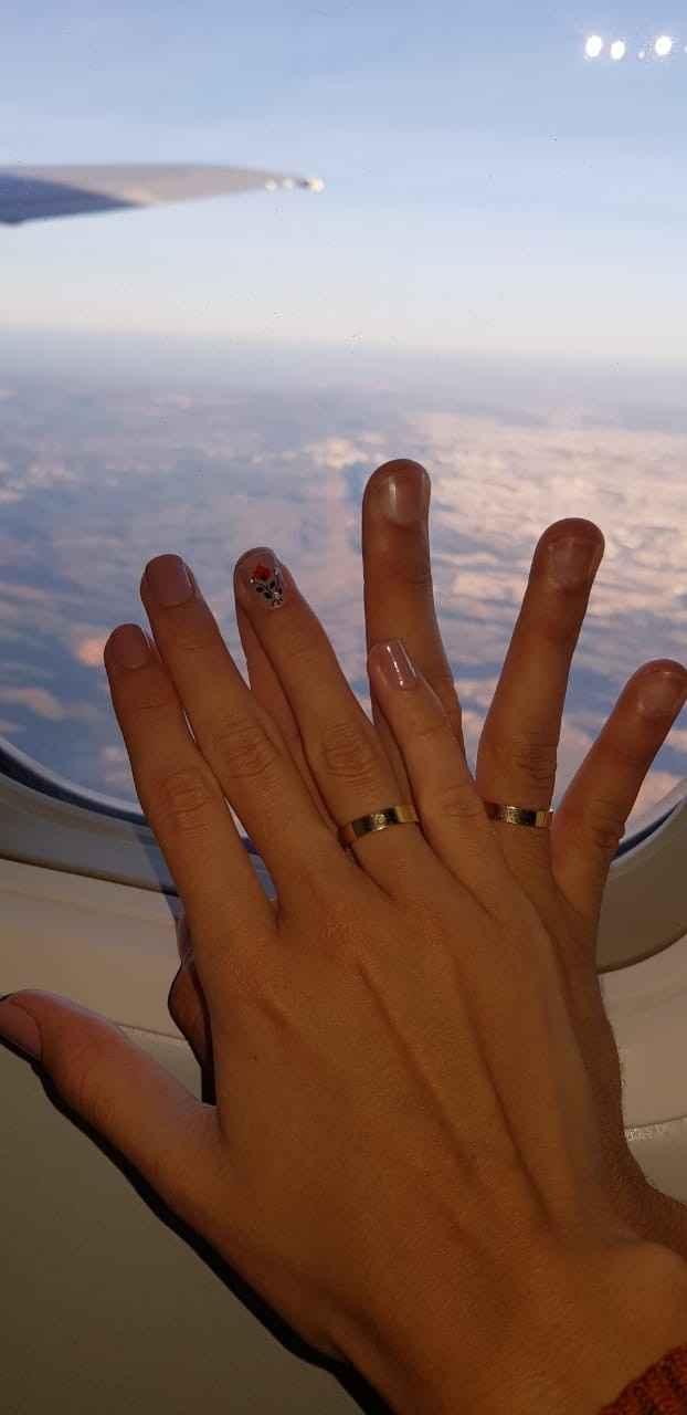 Dentro do avião, primeira vez voando, foi incrível!