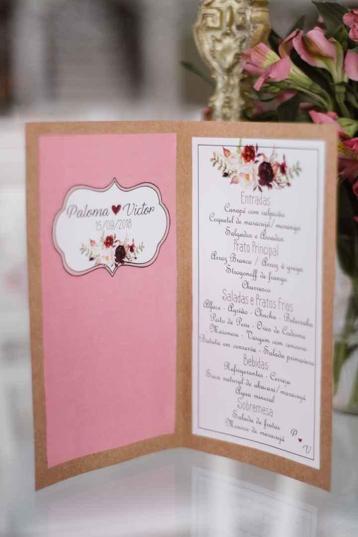 menu de casamento