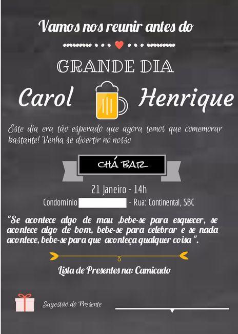 Convite Cha Bar