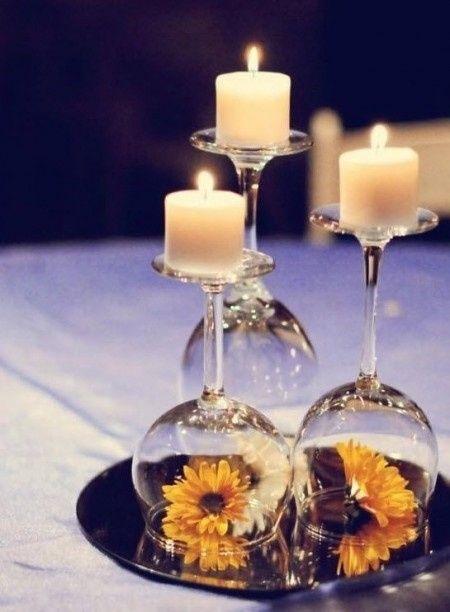 Taças com velas para o centro de mesa