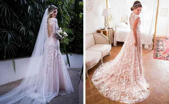 Falando sobre cores: vestido de noiva branco com forro rosa - 5