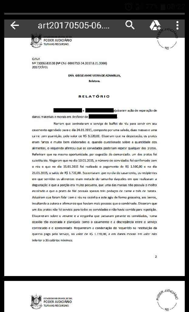 Buffet contratado..caso de justiça - 2