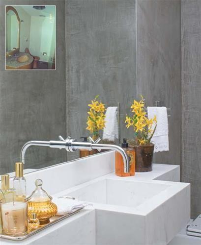 lavabo decoracao barata:Outro truque é na pia. A bancada mais estreita que a cuba faz vc