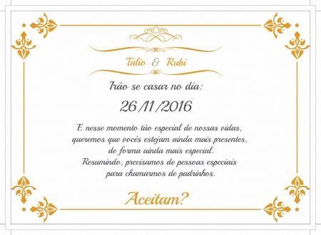 Convite para casal de padrinhos