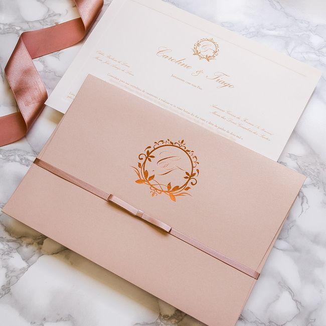 Convites de casamento na cor rosa 2