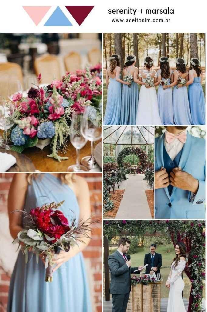 Preciso de ideias com essas  lindas Azul serenity, Rosa quartzo e Marsala - 1