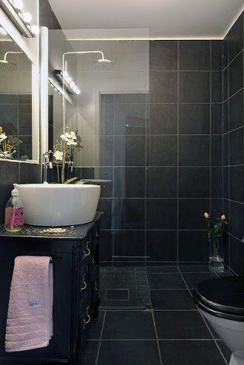decoracao piso branco:Banheiro preto e branco