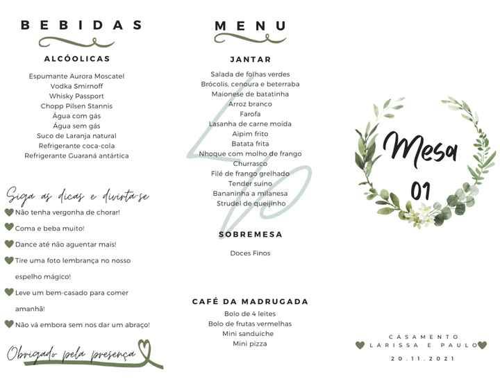 Papelaria do casamento: menu feito e escolhido! - 1