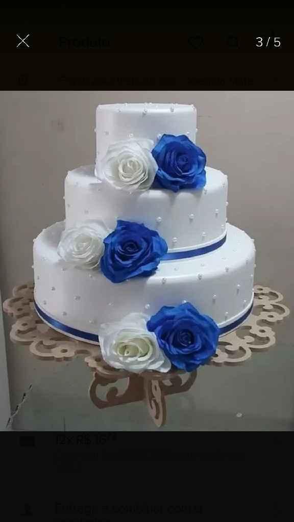 Bolo fake na cor azul e branco - 2