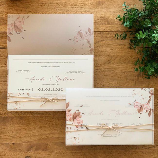 Convites de casamento na cor rosa 1