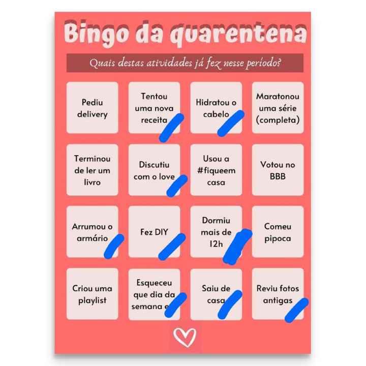 Bingo da quarentena: quem se atreve? #NoivasEmCasa - 1