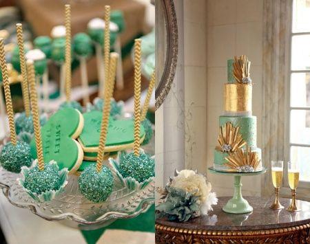 Decorações que inspiram dourado + verde água + azul claro - 4