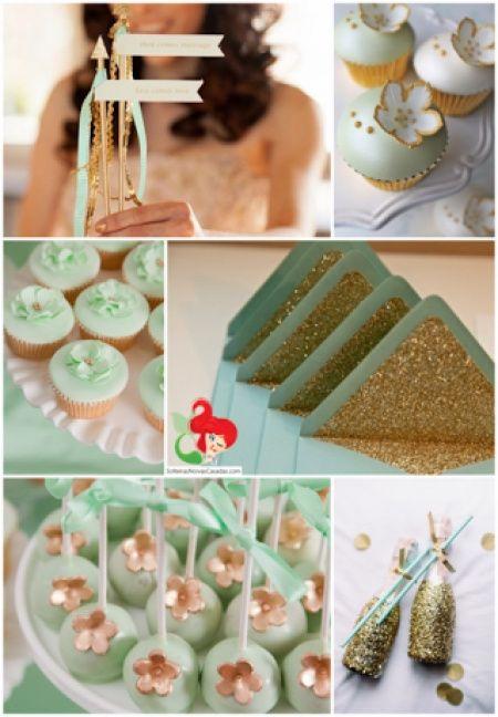 Decorações que inspiram dourado + verde água + azul claro - 5