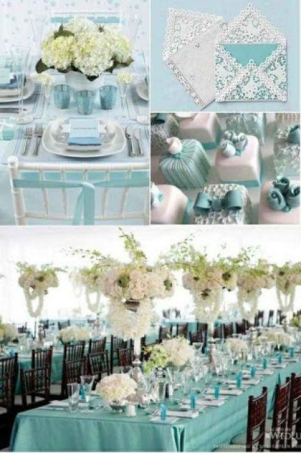 Decorações que inspiram dourado + verde água + azul claro - 10