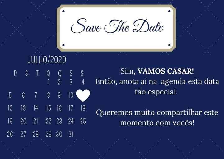 Convite Padrinhos/pais e Save the date - Feito pelo Canva - 1